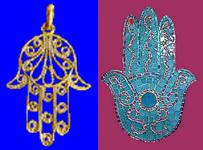 Deux exemples de mains de Fatima ou Khomsa